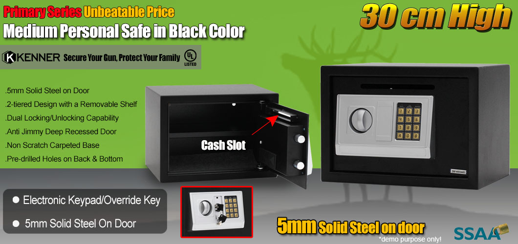 Details about KENNER Personal Electronic Security Safe Box Access Safes  Home Office 30cm BLACK